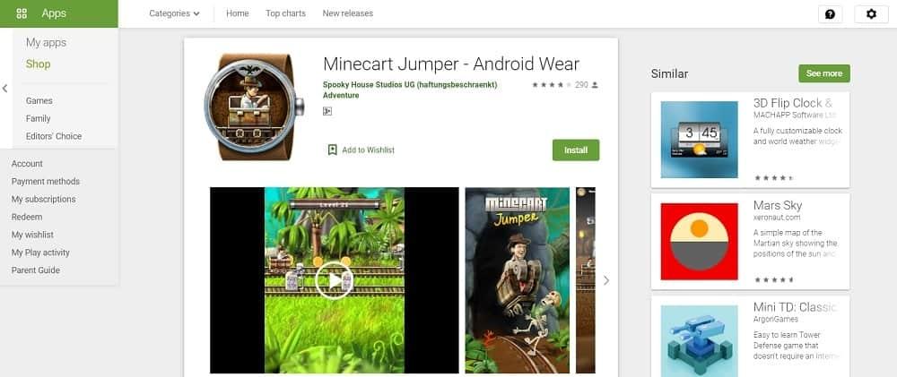 Screenshot of the Minecart Jumper app