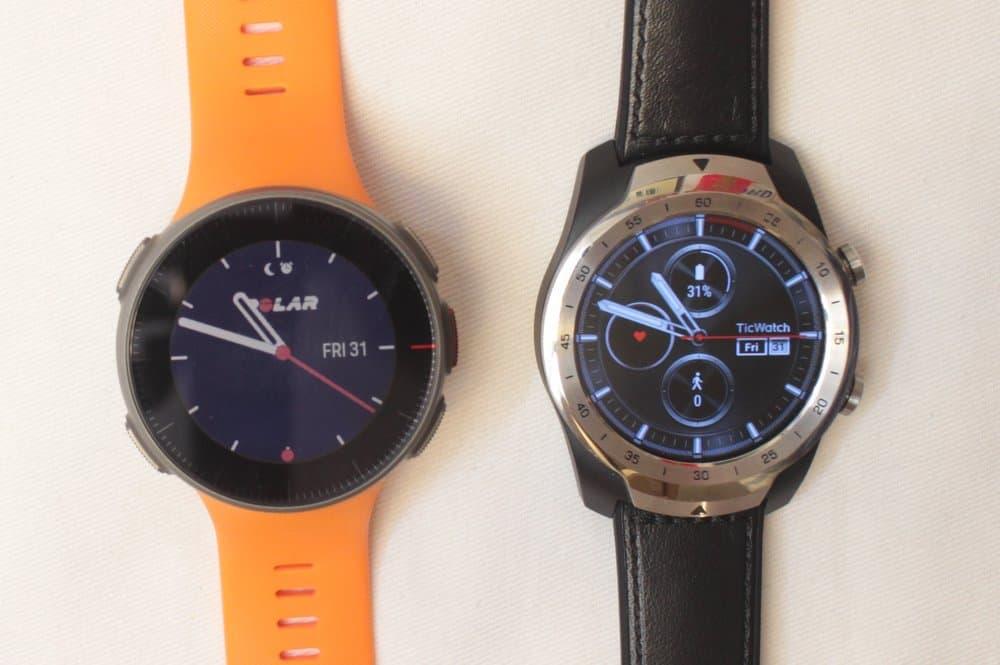 Polar Vantage V and Ticwatch Pro analog clocks