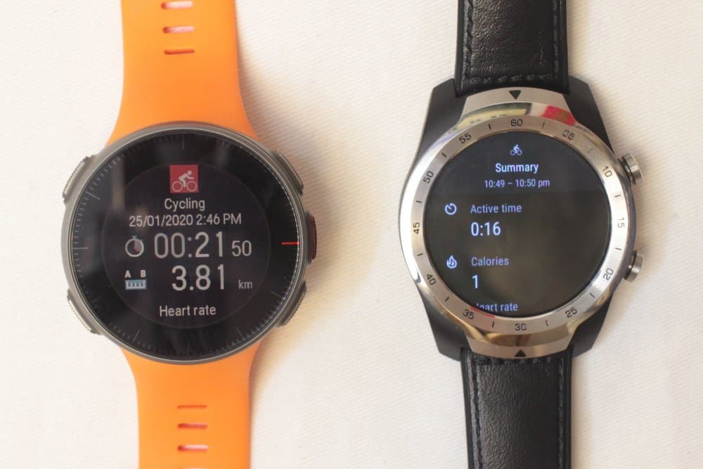 Polar Vantage V and Ticwatch Pro exercise summary