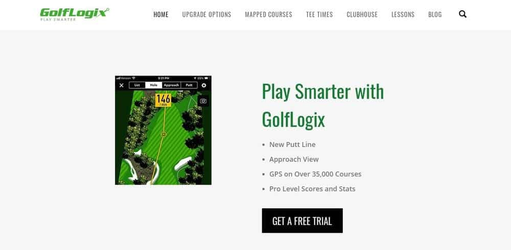 Screenshot of the GolfLogix Golf App Homepage.