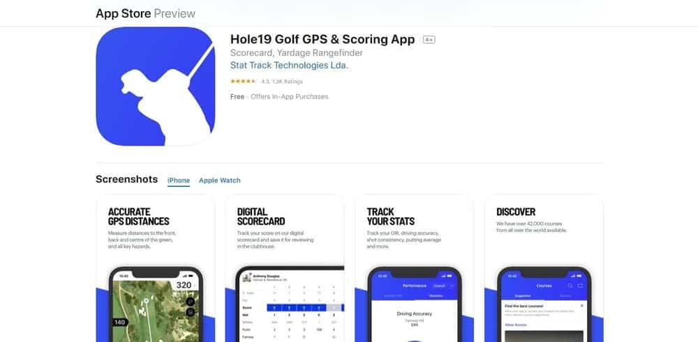 Screenshot of the Hole19 Golf App Homepage.
