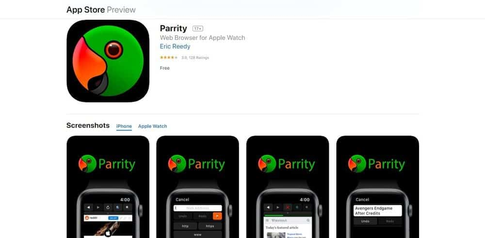 Screenshot of the Parrity Web Browser App Homepage.