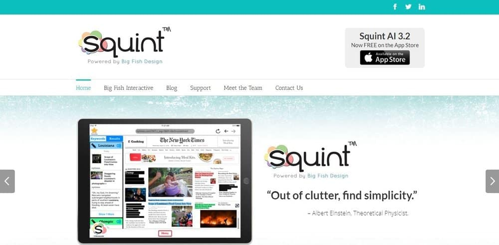 Screenshot of the Squint Web Browser App Homepage.