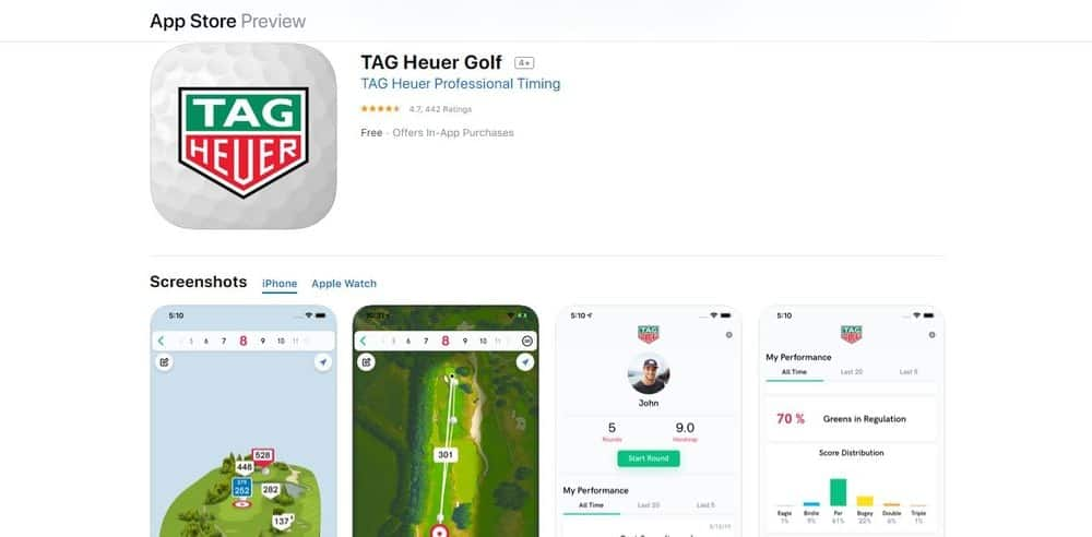 Screenshot of the Tag Heuer Golf App Homepage.