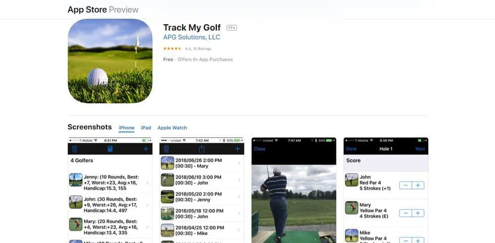 Screenshot of the Track My Golf Golf App Homepage.