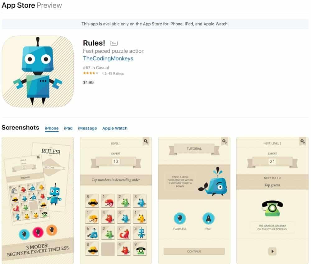 Screenshot of the Rules! app