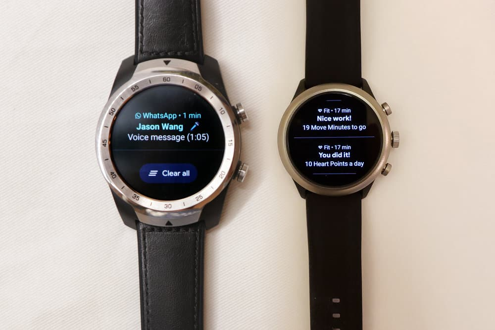Ticwatch Pro, Fossil Sport Smartwatch notifications menu