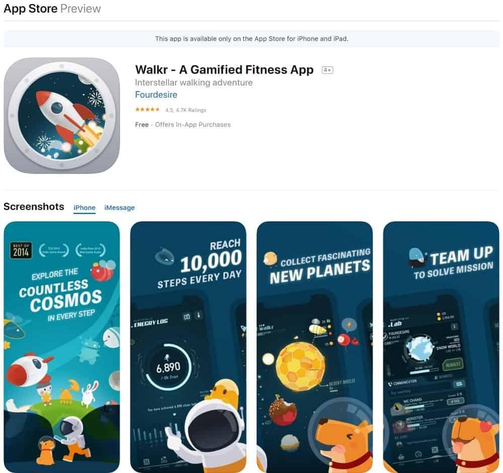 Screenshot of the Walkr app