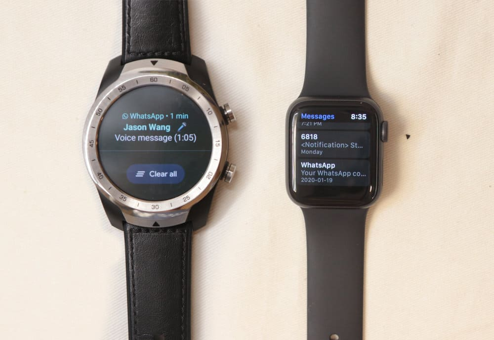 ticwatch pro vs apple watch series 5 notifications calls email