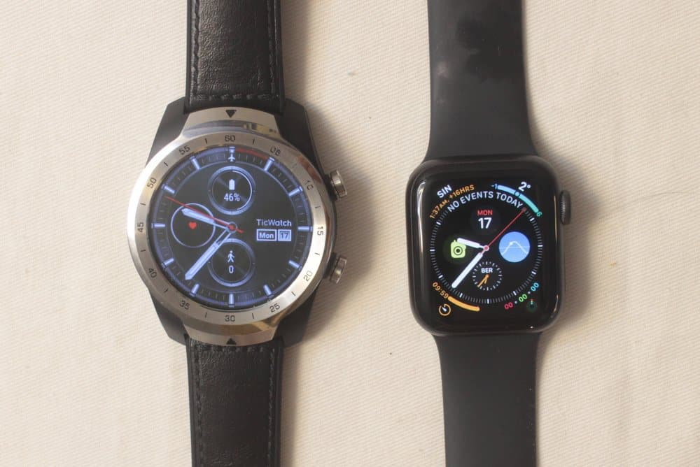 ticwatch pro vs apple watch 5 main watch face