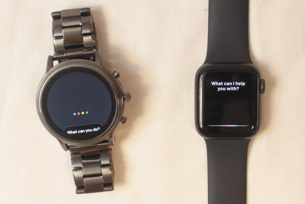 fossil gen 5 carlyle vs apple watch series 5 voice assistant google assistant siri
