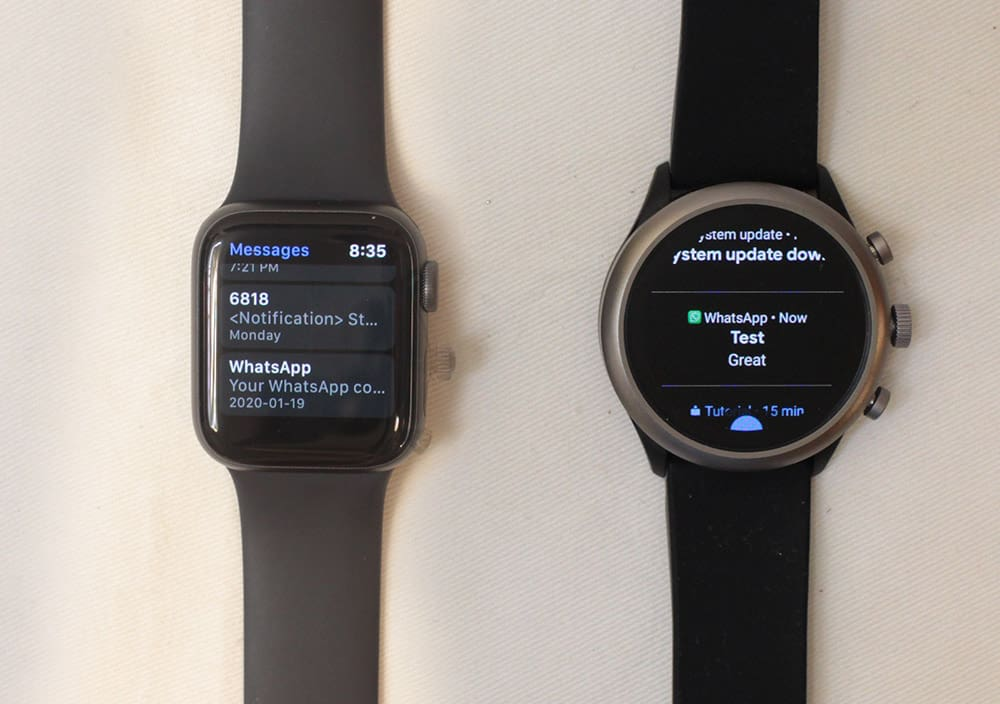 apple watch series 5 vs fossil sport smartwatch notifications