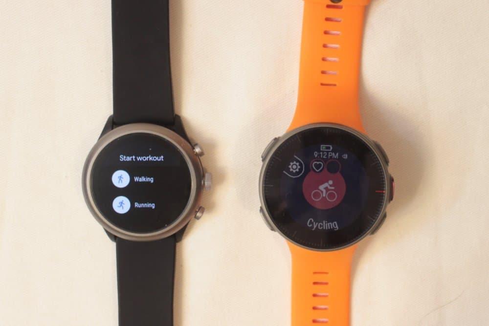 polar vantage v vs fossil sport smartwatch workout options