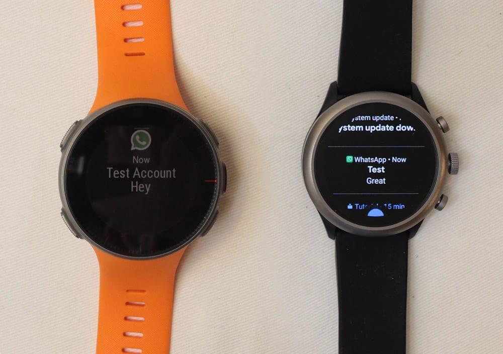 polar vantage v vs fossil sport smartwatch notifications
