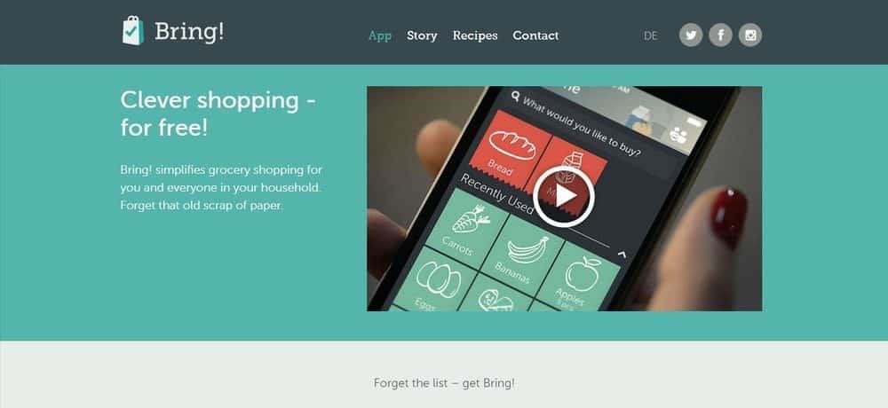 Screenshot of the Bring! Shopping List App Homepage.