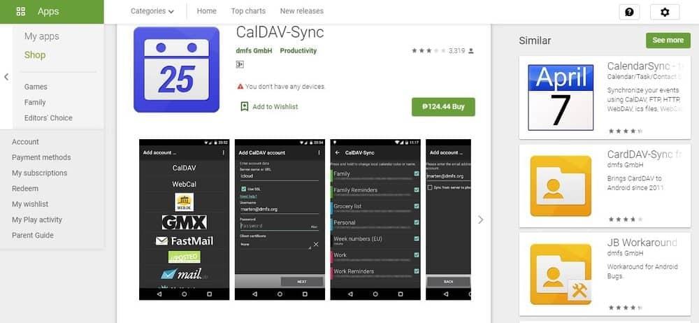 Screenshot of the CalDav App Homepage.