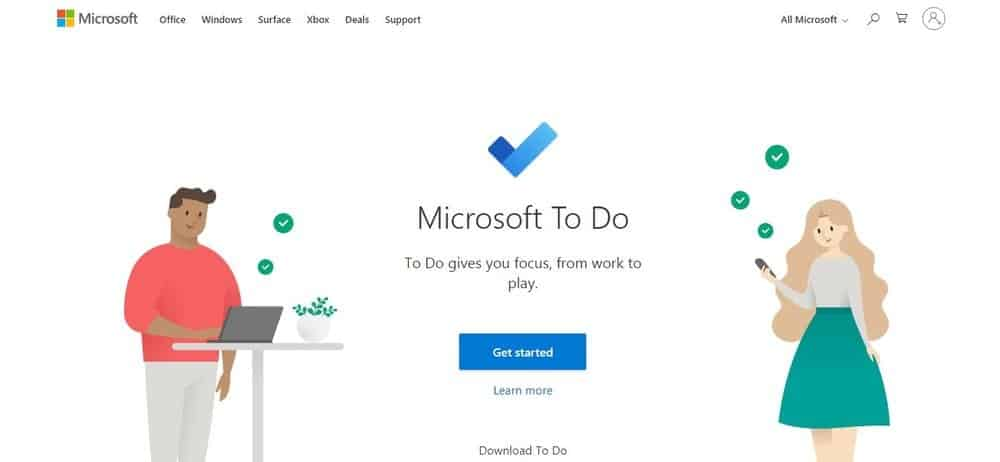 Screenshot of the Microsoft To Do App Homepage.