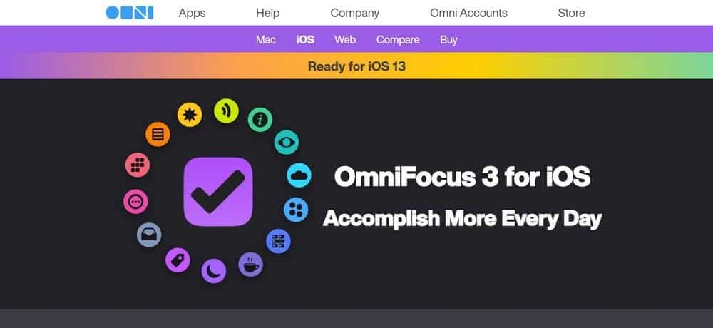 Screenshot of the OmniFocus 3 App Homepage.
