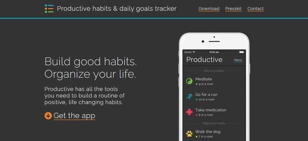 Screenshot of the Productive Habits App Homepage.