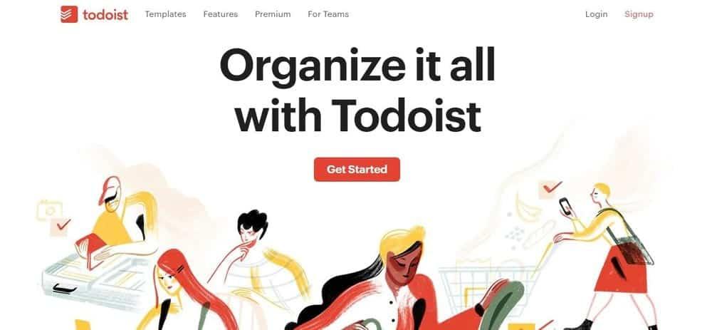 Screenshot of the Todoist App Homepage.
