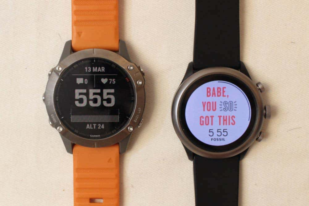 Garmin Fenix 6 vs Fossil Sport Smartwatch watch face