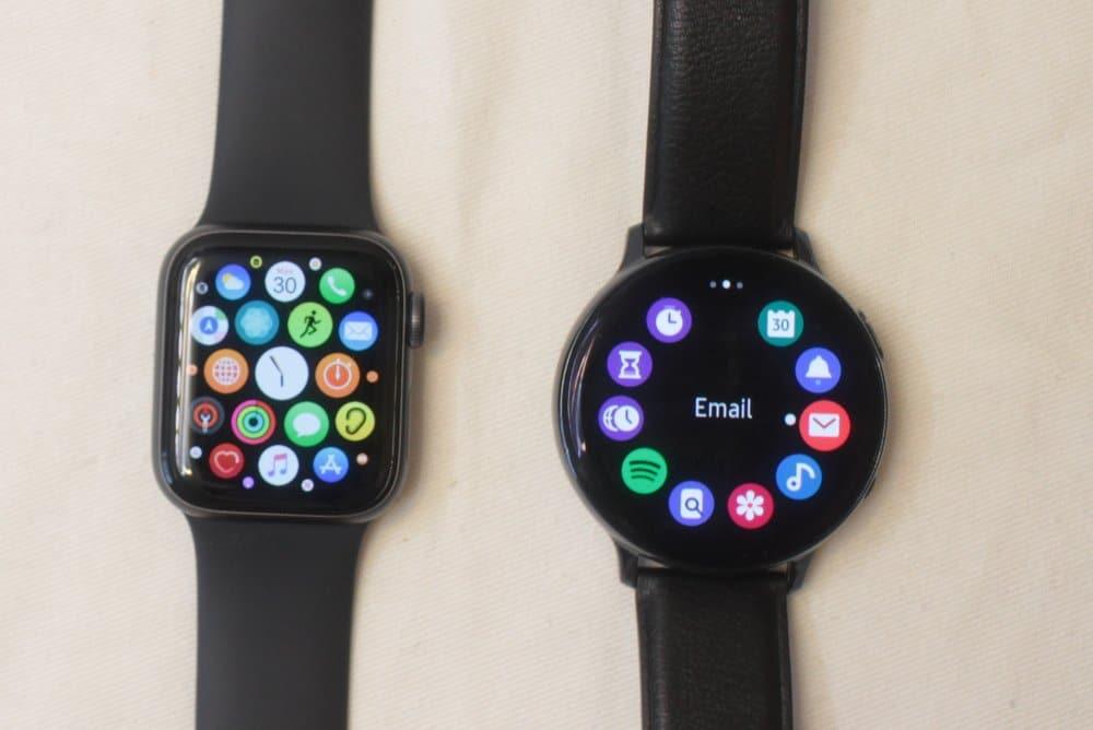 Samsung Galaxy Watch Active 2 vs Apple Watch Series 5 menu