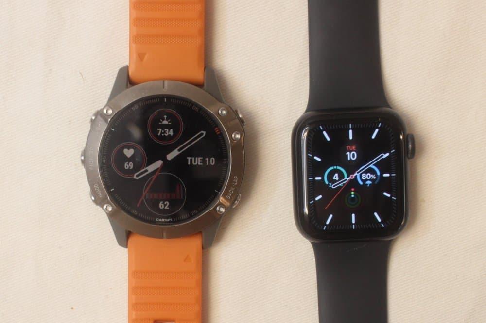 garmin fenix 6 apple watch series 5 main screen