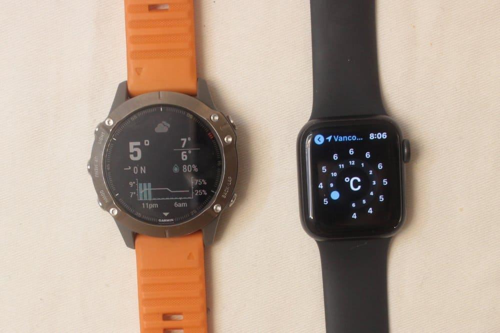 garmin fenix 6 apple watch series 5 weather