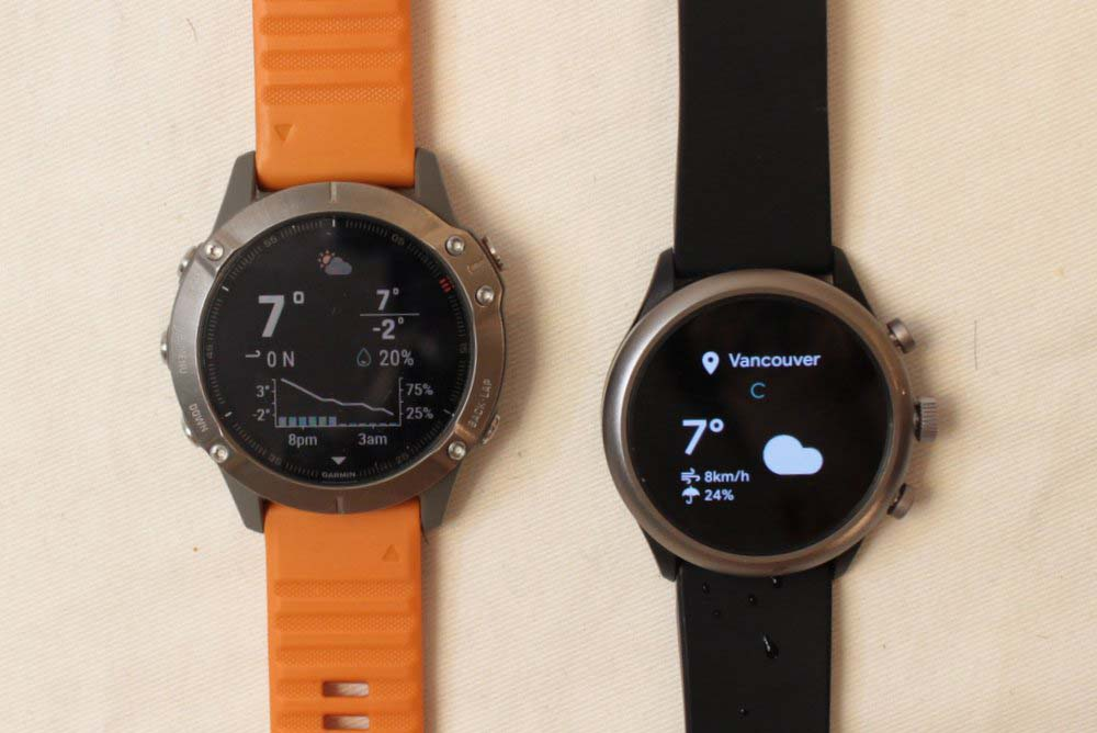 Garmin Fenix 6 vs Fossil Sport Smartwatch weather