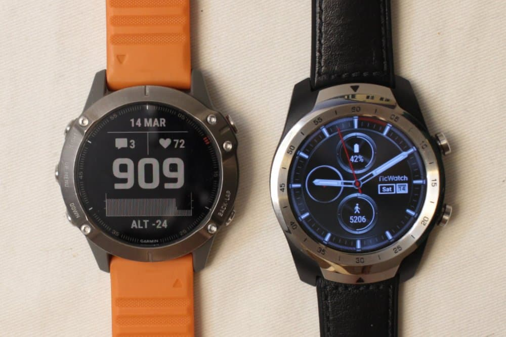 garmin fenix 6 ticwatch pro main screen