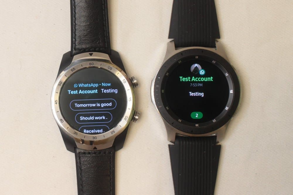 samsung galaxy watch ticwatch pro messages