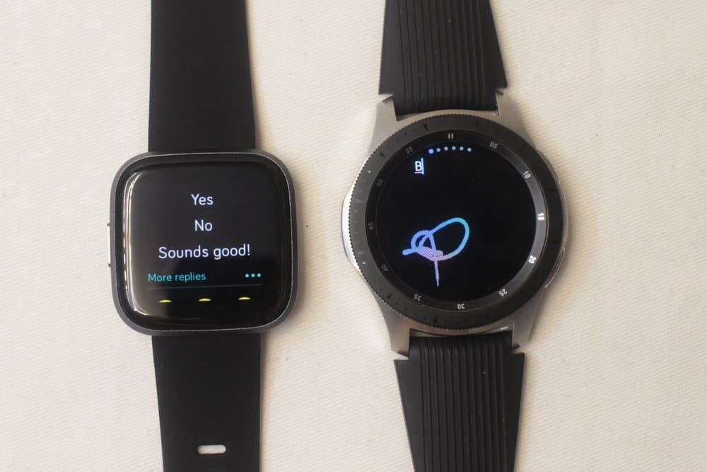 galaxy watch vs fitbit versa 2 writing