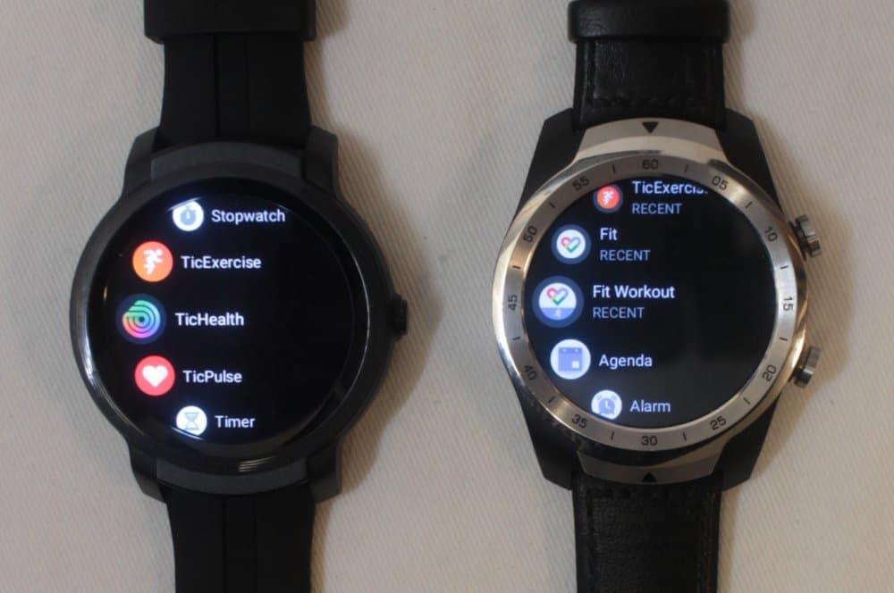ticwatch e2 vs ticwatch pro apps menu
