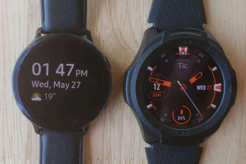 Ticwatch S2 vs Samsung Galaxy Watch Active 2 watch face