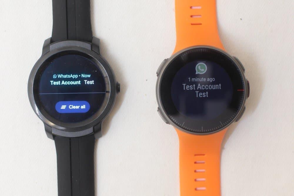 ticwatch e2 vs polar vantage v texts