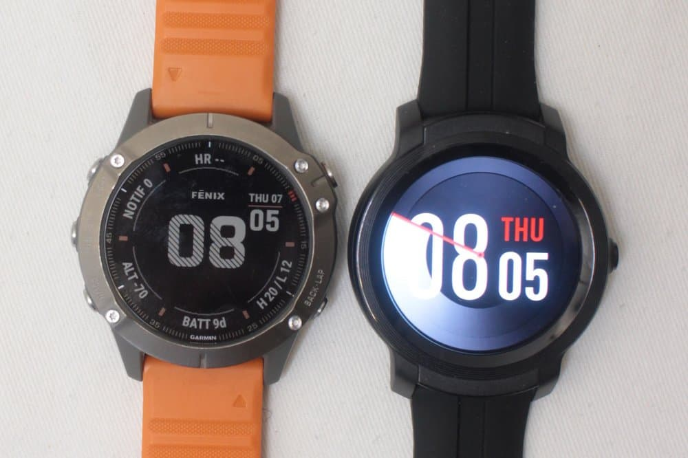 ticwatch e2 vs garmin fenix 6 main screen