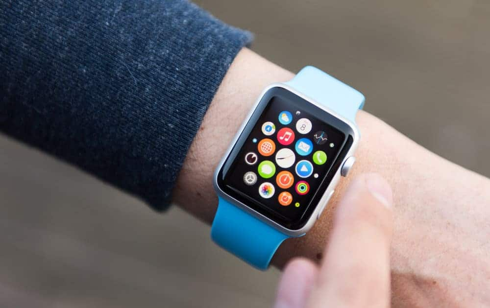 An Apple Watch showing the set of apps on screen.