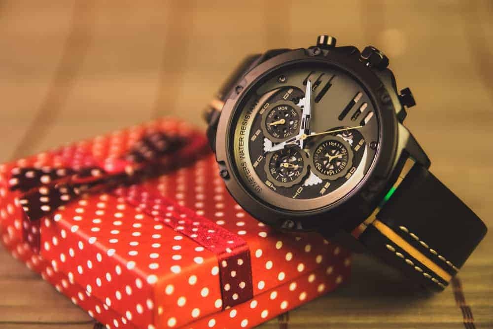 A casual wristwatch for men with black straps.