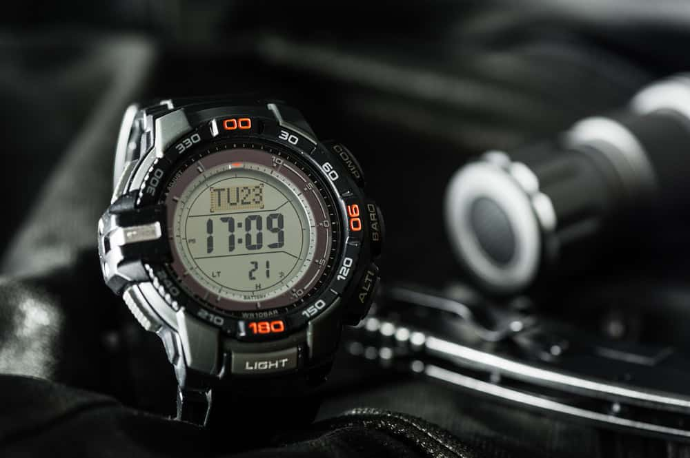 A black and sporty digital wristwatch for men.