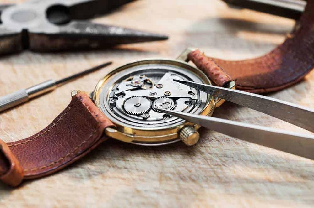 Inside an antique wristwatch.