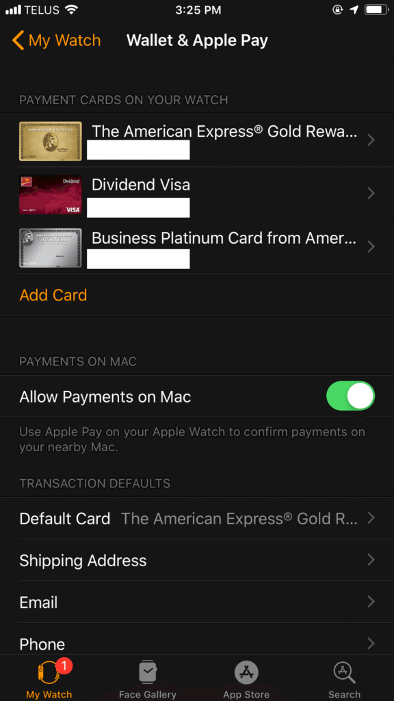 Setting up Apple Pay on Apple Watch Screenshot