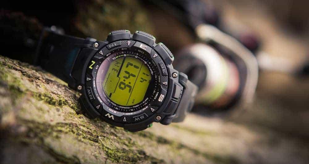 A black Sport wristwatch for men.