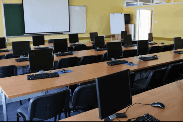 Classroom with Computers on Each Desk