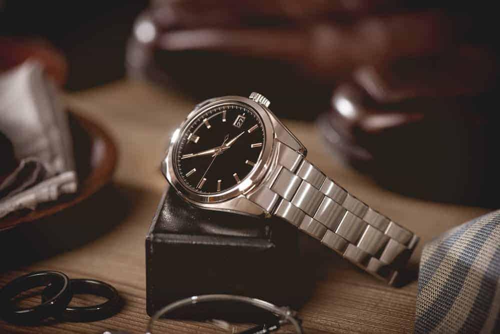 A silver dress formal wristwatch for men.