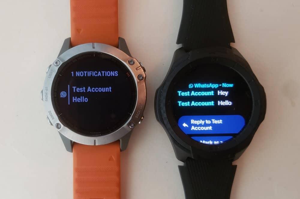 ticwatch s2 vs garmin fenix 6 text message