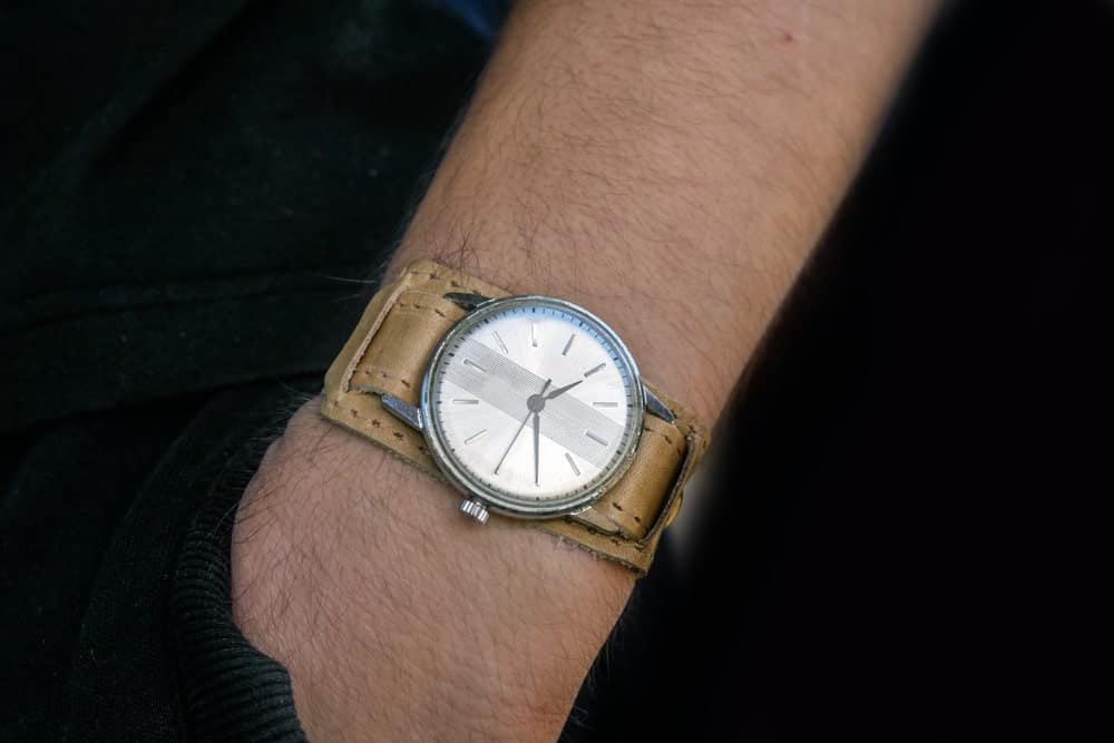 Closeup of a vintage wristwatch.
