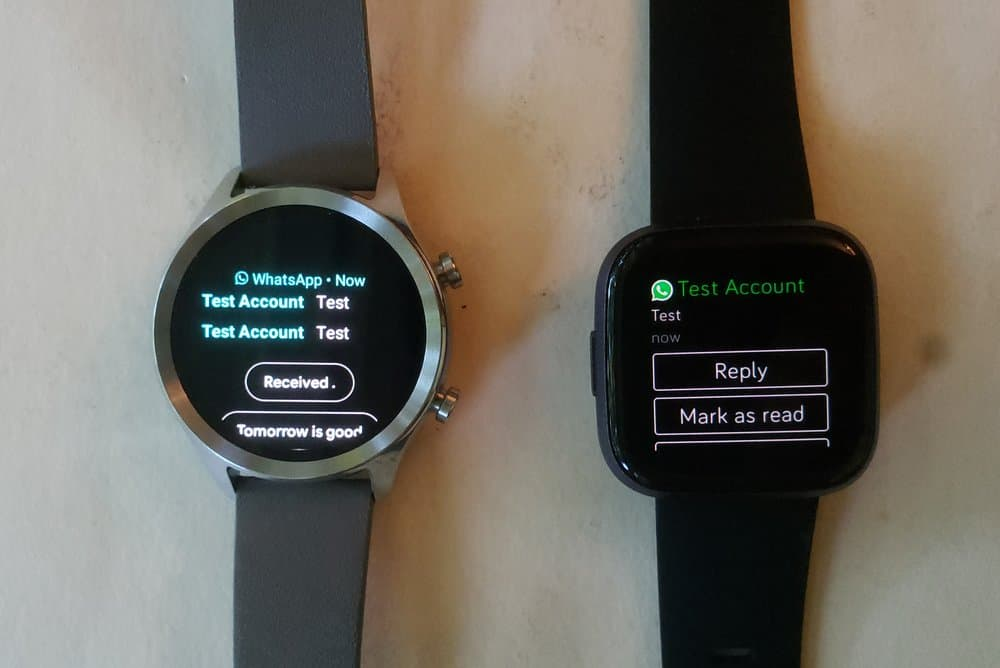 Ticwatch C2 vs Fitbit Versa 2 text and emails