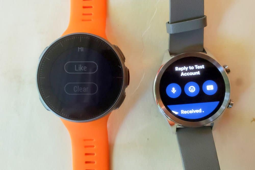 ticwatch c2 vs polar vantage v replying to messages