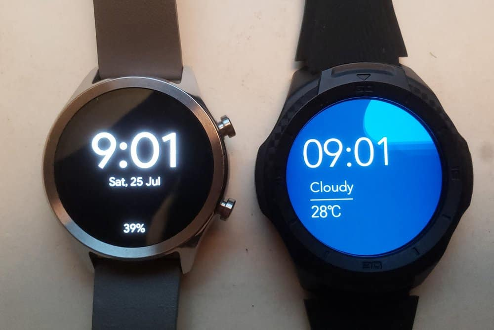 Ticwatch C2 vs Ticwatch S2 watch faces