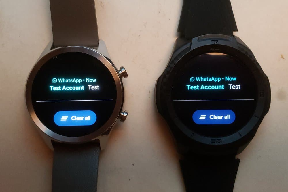 Ticwatch C2 vs Ticwatch S2 texts